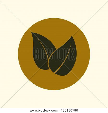 Leaf icon. Fresh natural product symbol. Organic product sign. Flat design style.