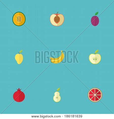 Flat Jonagold, Muskmelon, Mango And Other Vector Elements. Set Of Greens Flat Symbols Also Includes Tropical, Jungle, Grapefruit Objects.