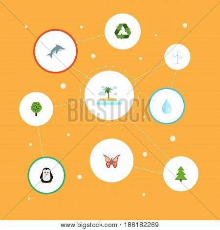 Flat Polar Bird, Beauty Insect, Wood And Other Vector Elements. Set Of Eco Flat Symbols Also Includes Isle, Playful, Polar Objects.
