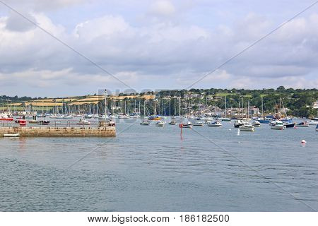 Boats moored on the River Fal at Falmouth