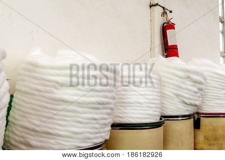 cotton group closeup in spinning production line factory