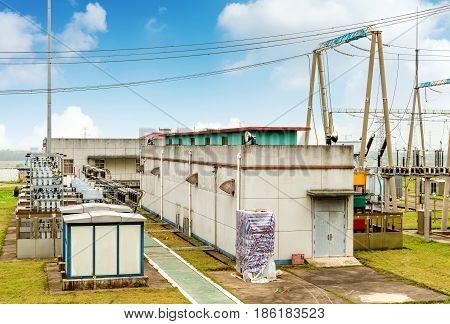 High voltage power substation modern power facility.