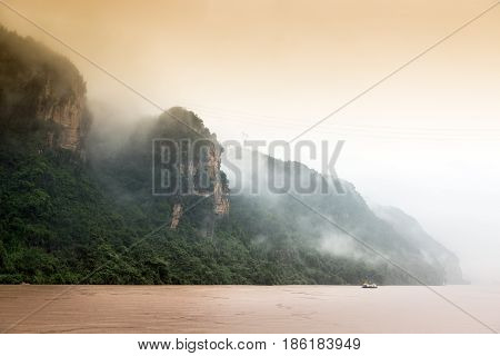 Rain in the Yangtze River Three Gorges in China