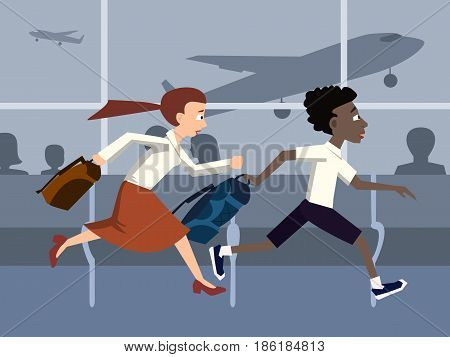 people are late for a plane, running in terminal  - funny cartoon vector illustration