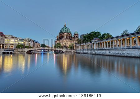 The Berlin Dom and the river Spree after sunset