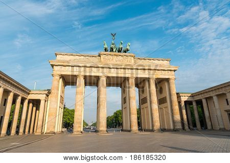 The Brandenburger Tor in Berlin in the early morning sunshine