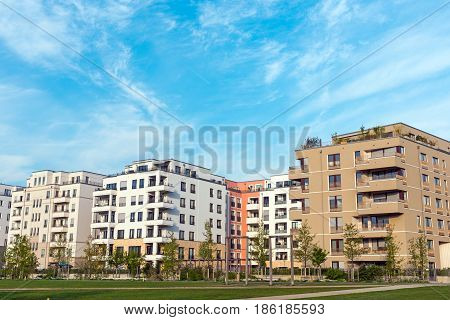 Development area with modern multi-family houses seen in Berlin, Germany