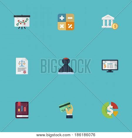 Flat Accounting System, Algebra, Card And Other Vector Elements. Set Of Accounting Flat Symbols Also Includes Card, Report, Asset Objects. poster