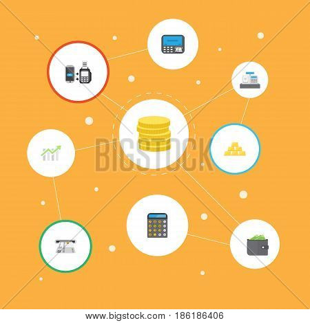 Flat Till, Small Change, Billfold And Other Vector Elements. Set Of Business Flat Symbols Also Includes Bars, Register, Bank Objects.