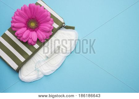 Pink gerbera daisy flower and stripe beautician with menstruation daily pads and tampon. Woman hygiene conception photo. Soft tender protection for woman critical days gynecological menstrual cycle