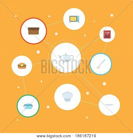 Flat Teapot, Casserole, Loaf And Other Vector Elements. Set Of Kitchen Flat Symbols Also Includes Uniform, Pan, Kitchen Objects.