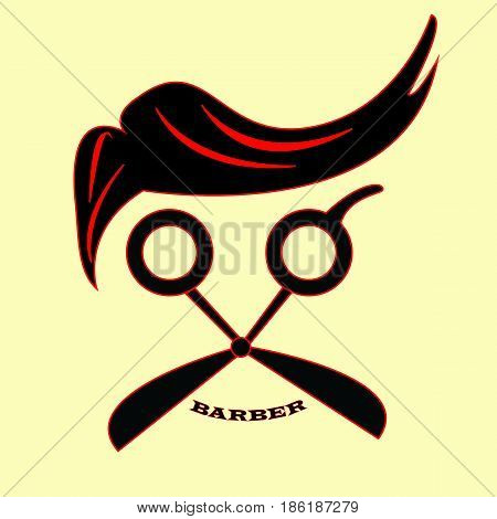 red line and black color Gentleman barbers logo  with yellow background. vector. illustration. Graphic design.