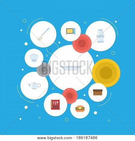 Flat Spice, Teapot, Electric Stove And Other Vector Elements. Set Of Food Flat Symbols Also Includes Kettle, Dish, Kitchen Objects.
