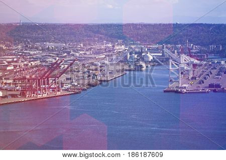 View from Space Needle to dock area, Seattle
