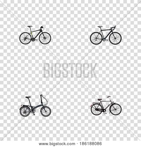 Realistic Cyclocross Drive, Hybrid Velocipede, Training Vehicle And Other Vector Elements. Set Of Bike Realistic Symbols Also Includes Hybrid, Velocipede, Folding Objects.