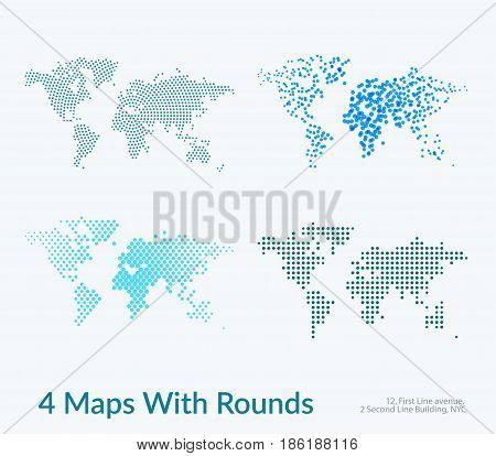 Vector world map with circles, rounds, dots for business templates graphic design, abstract art. Technology and travel by train, car, plane theme background. Mega set.