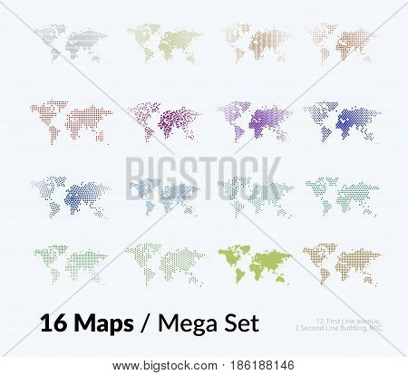 Vector world map with sticks, lines, rounds, squares for business templates graphic design, abstract art. Technology and travel by train, car, plane theme background. Mega set.