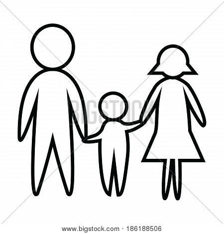 Happy Black and white line of family. Father Mother and Son. Father and Mother hold son's hands. vector. Illustrator. graphic design.
