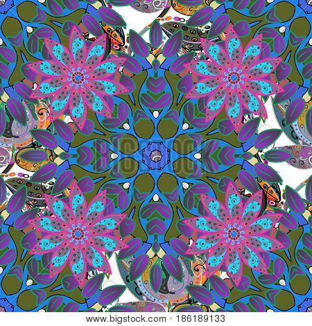 Template Colored mandala vector circle of zentangle hand drawn on white background.