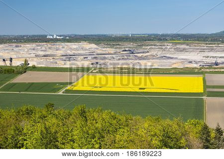 Pit Mine And Rape Field View