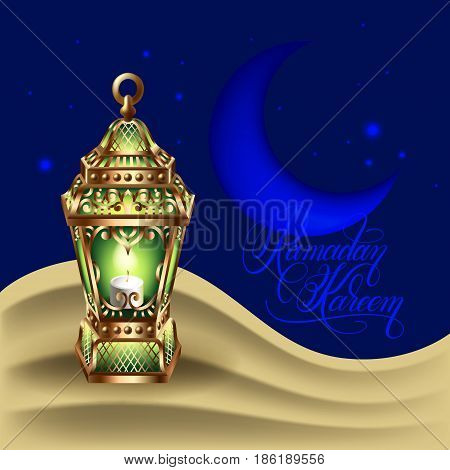 Ramadan Kareem greeting card with gold lantern on the sand dune against the background of the moon and the starry sky, eps10 vector illustration