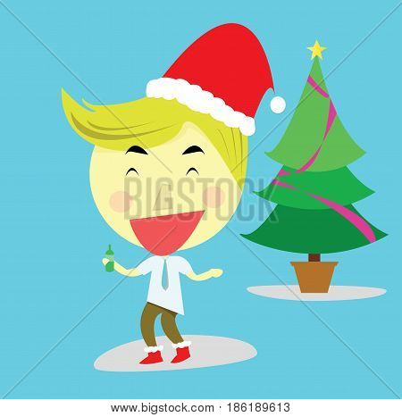 happy salary man and the Christmas party with the beautiful Christmas tree and blue background. vector. illustration. graphic design.