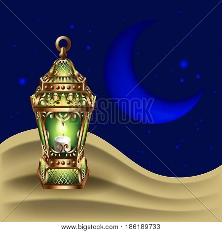 night background with vintage gold lantern stands in the sand dune against of the night starry sky and the moon, vector illustration