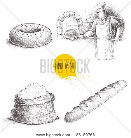 Hand drawn set bakery illustrations. Baker making fresh bread in stone oven sesame bagel fresh baguette and flour sack. Vector set isolated on white background.