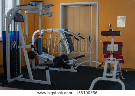 Modern power trainers in the gym. Fitness equipment