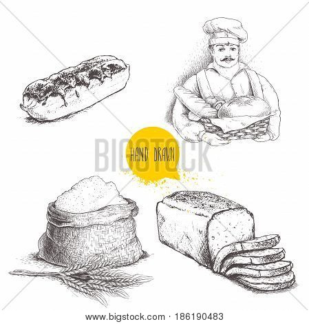 Hand drawn set bakery illustrations. Baker with fresh bread sliced bread loaf eclair and sack with flour with wheat bunch. Vector illustration isolated on white background.