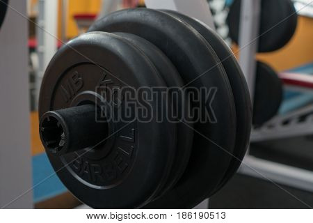 Dumbbell close-up in the gym. Free weight