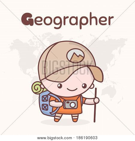 Cute Chibi Kawaii Characters. Alphabet Professions. Letter G - Geographer