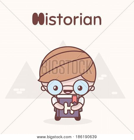 Cute Chibi Kawaii Characters. Alphabet Professions. Letter H - Historian
