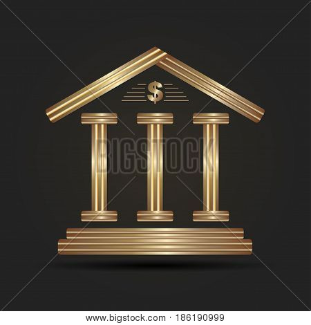 Financial institution with a coin on a black background. The symbol of the banking system. Bank logo.