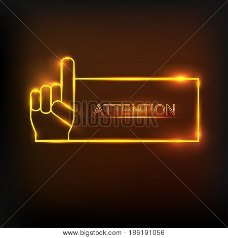 Attention sign. Hazard warning icon with neon effect and place for text . Vector illustration. Speech bubbles and chat symbol.