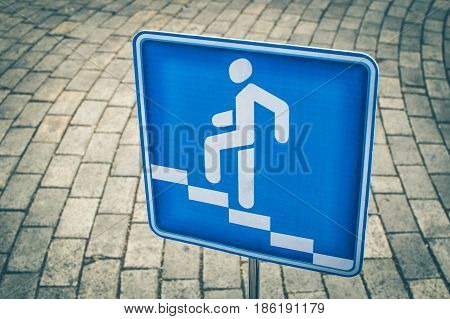 Blue Square Pedestrian Traffic Sign For Pedestrian Crossing Against