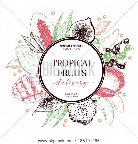 Vector hand drawn smoothie bowls poster. Exotic engraved fruits. Colored art. Round border composition. Banana, mango, papaya, pitaya, acai, lychee, fig. for exotic restaurant market food delivery
