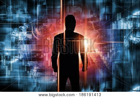 Men Entering the World of New Technologies. Abstract Conceptual Illustration.
