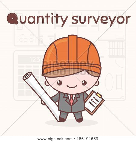 Cute Chibi Kawaii Characters. Alphabet Professions. Letter Q - Quantity Surveyor.