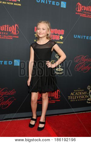 LOS ANGELES - APR 26:  Alyvia Alyn Lind at the NATAS Daytime Emmy Nominees Reception at the Hollywood Museum on April 26, 2017 in Los Angeles, CA