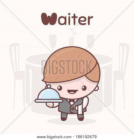 Cute Chibi Kawaii Characters. Alphabet Professions. Letter W - Waiter.