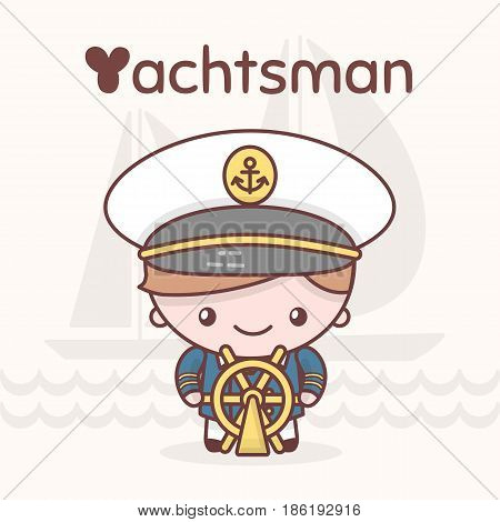 Cute Chibi Kawaii Characters. Alphabet Professions. Letter Y - Yachtsman