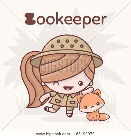 Cute Chibi Kawaii Characters. Alphabet Professions. Letter Z - Zookeep