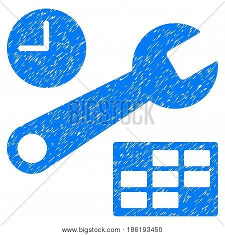 Grunge Date And Time Setup icon with grunge design and dirty texture. Unclean vector blue pictogram for rubber seal stamp imitations and watermarks. Draft sticker symbol.