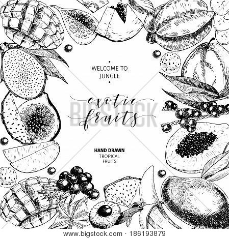 Vector hand drawn smoothie bowls poster. Exotic engraved fruits.Frame border composition. Banana, mango, papaya, pitaya, acai, lychee, fig. for exotic restaurant market food delivery