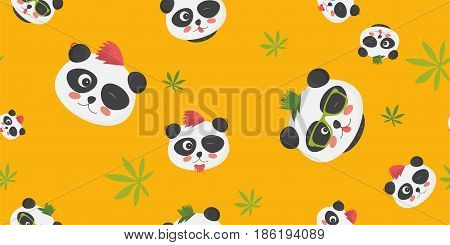 Punk Pandas vector seamless pattern: cute panda bear faces with punk haircuts on and green leaves on a yellow background. Great as cloth print, textile of fabric printing, wrapping template, etc.