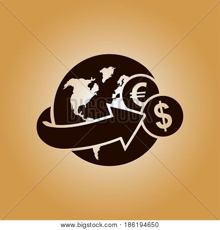 Arrow wrapped around the earth. Remittances icon.