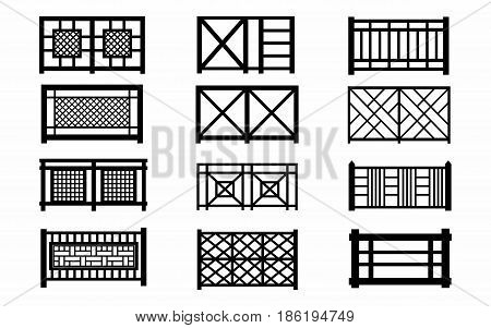 fences wooden icons silhouette wooden fence set wooden garden fences isolated on white background rural fencing wood boards silhouette construction in flat style