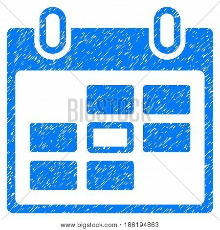 Grunge Selected Calendar Day icon with grunge design and scratched texture. Unclean vector blue pictogram for rubber seal stamp imitations and watermarks. Draft emblem symbol.