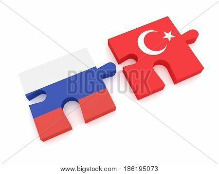 Russia Turkey Partnership: Russian Flag And Turkish Flag Puzzle Pieces 3d illustration on white background